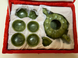 Vintage 8 Piece Chinese Green Jade Tea Set Teapot Tray 6 Cups