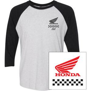 Factory Effex Honda Wing Raglan T-Shirt (White / Black) Choose Size