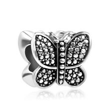 Butterfly Silver Oxidised Insect Charm Slider Bead Necklace Pendant DIY Jewelry