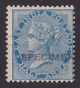 India. 1865. SG 54s, 1/2a blue, specimen. Mounted mint.