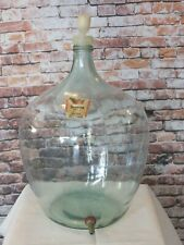 """VINTAGE GERMAN GLASS DEMIJOHN WITH SPIGOT FOR WINE MAKING LARGE 24"""" TALL x 16"""""""