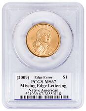 (2009) Sacagawea Dollar Mint Error Missing Edge Lettering PCGS MS67 Moy SKU51947