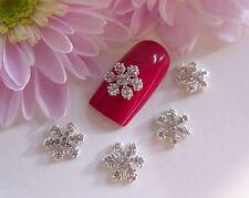 3D Nail Art Christmas Silver Rhinestone Diamante Snowflake Alloy Metallic