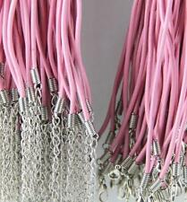 10/100pcs Real Leather Cord Necklace With Lobster Clasp Charms Jewelry DIY 2mm