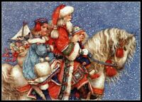 Santa on Horse - Chart Counted Cross Stitch Pattern Needlework Xstitch craft DIY
