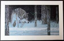 "Ron Parker ""Moonlit Tracks - Wolves"" Unframed Paper Print 18 1/2 x 32 1/2 S&N541"