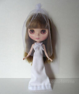 BLYTHE DOLL CLOTHES Wedding BRIDAL GOWN VEIL JEWELRY Fashion NO DOLL dolls4emma