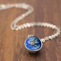 Sonnensystem doppelseitige  Anhänger Erde Glas Cabochon  Anhänger Halskette