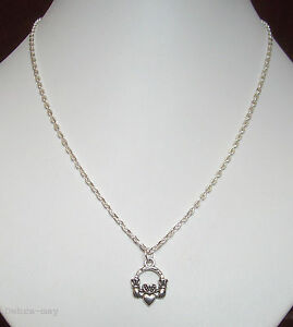 """Irish Claddagh Heart Pendant 18"""" Silver Plated Chain Necklace - Love Friendship"""