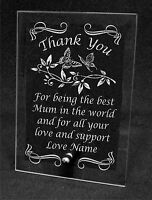 Plain / Engraved Personalised Glass Plaque Mothers day Thank You