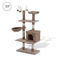 "53"" Multi-Level Cat Tree Scratcher Kitten Activity Center Kitty Condo Furniture"