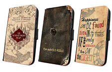 Harry Potter HP phone case faux flip leather wallet Marauders Map iphone samsung