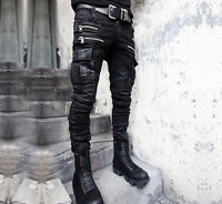 2018 Mens Military Punk Gothic Long Trousers Hip Hops Denim Casual Pants Zip