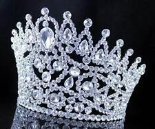 AB7002 HUGE BEAUTY QUEEN CRYSTAL RHINESTONE TIARA CROWN WITH HAIR COMBS PAGEANT