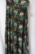 LuLaRoe Maxi Skirt Fold Down Waist Green with Abstract Print Size L #5440