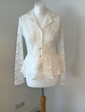 White ivory long sleeve v neck lace blouse top with collar and frills size 14