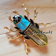 Cockroach Beetle Bug Insect Brooch Pin Blue Gold plated Fashion Jewellery
