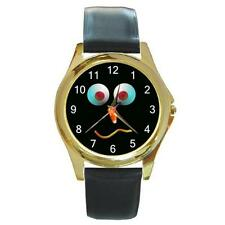 HALLOWEEN FUNNY FACE CANDY CORN GOLD-TONE WATCH, LEATHER BAND, NEW!