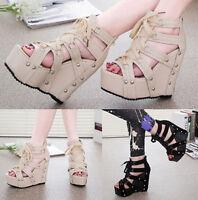 Womens Gladiators Lace Up Studded Punk Platform Wedges High Heels Sandals Shoes