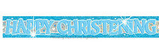 12ft Sparkly Foil Pink or Blue Happy Christening Banner Party Decoration