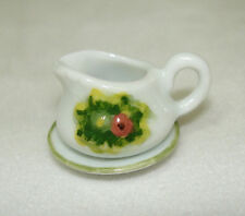 Dollhouse Miniature Ceramic Flowers Gravy Boat or Cream Pitcher 1:12 Scale