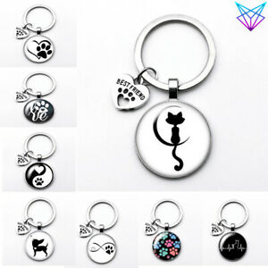 Pet Dog Cat Neck Keychain Pendant for Puppy Kitten Love Metal Jewelry Ring