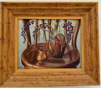 EARL LINDERMAN  (American b 1931) Vintage Mid-Century OIL Painting AMERICANA MOD