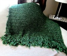 Throw Blanket Green Blanket Fringe Afghan Handmade Varied Greens READY TO SHIP