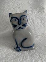 "1992 Eldreth Pottery Nottingham PA Salt Glaze Stoneware Folk Art Cat Figurine 6"""
