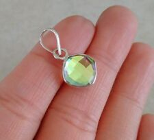 "NATURAL CUSHION CUT RAINBOW TOPAZ 925 STERLING SILVER PENDANT 1"" NECKLACE CHARM"