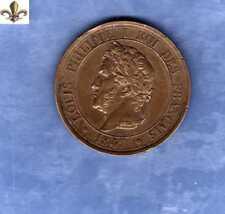 TRES RARE - ESSAI -10 Centimes A LA CHARTE- LOUIS PHILIPPE -1847 -Bronze - BARRE