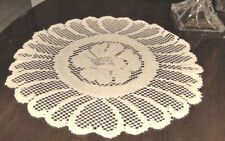"""SET OF 4- WHITE LACE  FLORAL DOILIES, PLACE-MATS 15"""" ROUND,HOME MOMENTS- #2004"""