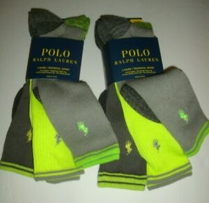 New Polo Ralph Lauren Men's 6-Pair Technical Sport Socks Grays/Neon Yellow