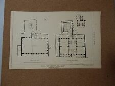 Antique Architects print The city Liberal club floorplan The architect 1875.