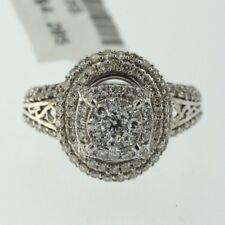 Womens 14k White Gold Genuine Round Cut Diamond Ladys Engagement Ring Halo Band