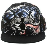 MARVEL COMICS VENOM RUBBER LOGO BLACK SUBLIMATED ALL OVER PRINT SNAPBACK HAT CAP