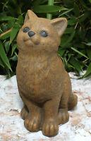 Steinfigur Katze sitzend Steinguss frostfest Gartendeko Gartenfigur