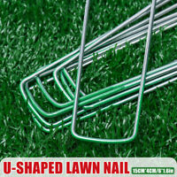 4MMX15MM 100PCS Artificial Grass Pins Fake Garden Lawn Turf Weed Mat Pegs ! *