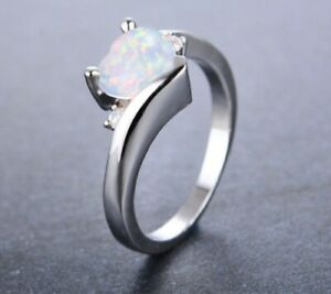 White Gold Filled Cubic Zirconia White Fire Opal Love Heart Ring