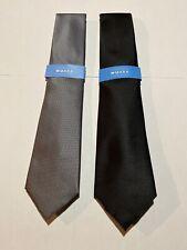 Countess Mara Lot Of 2 Solid Black / Solid Gray Neck Tie Necktie 100% Polyester