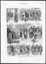 1880 - Antique Print SCOTLAND Highlands Court Abergeldie Gillie Ball Sword (040)