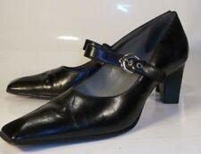 Franco Sarto Womens US 7 M Black Leather Block Heel Mary-Jane Casual Shoes work