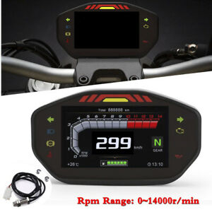 Motorcycle LCD TFT Digital Speedometer Odometer For 1/2/4 Cylinder Engine Meter
