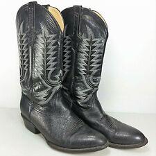 Ferrini Mens Black Genuine Ostrich Skin Leather Western Cowboy Boots Size 9.5