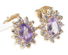 Ladies Genuine 1.45ct AMETHYST Studs With Excellent Little Rounds Surrounding.