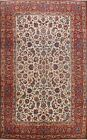 Antique Vegetable Dye Najafabad Hand-knotted Large Area Rug Wool Ivory 10x14 ft