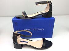 Stuart Weitzman Nudistjune Black Caviar Patent Sandal Size 9.5 W