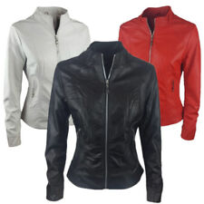 giubbino donna eco pelle giacca giubbotto 3 colori slim fit zip RQS