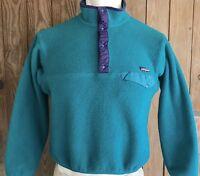 Patagonia Men's Medium Snap T Fleece Vintage 90's Green Teal Polyester Pullover