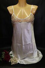 Short Cream Satin & Blue Lace Nightdress Nightie Chemise Slip Sizes UK12 (1)